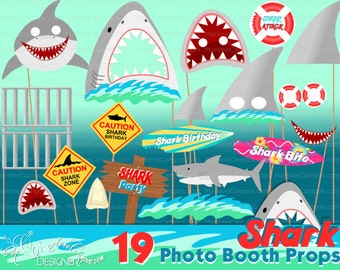 Shark photo booth props, Shark birthday party, Shark party decor, Photo Booth props set, Printable photo booth props - INSTANT DOWNLOAD