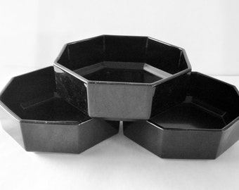 ARCOROC France 3 Black Glass Soup Cereal Bowls.