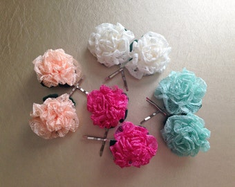 Lace Hair Accessories - Flower Bobby Pins - Wedding Hair Flowers - Fabric Flowers - Mini Cabbage Roses - Hair Flowers - Hair Flower Wedding