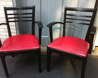 Retro Cool Back and Red Wood  Arm Chair PAIR