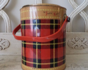 Vintage Red Plaid Skotch Kooler - Retro Lunch Pail or Picnic Cooler