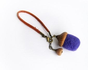 Bangle bracelet Violet acorn Bag charm Needle felted Wool acorns Wrist decor Spring jewelry Gift under 15 Spring gift ideas for her