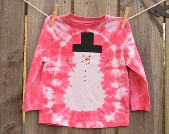 2T Toddler Youth Girl Tie Dye Snowman Long Sleeve T-Shirt