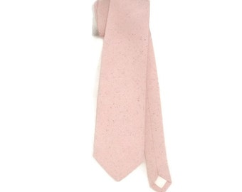 Pink sand linen look neck tie.  Standard or skinny pink osnaburg necktie