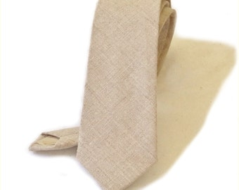 Linen neck tie. Standard or skinny natural beige linen texured necktie made to order