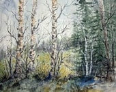 Watercolor Landscape Painting, Archival Print, woodland scene, autumn forest, country landscape, birch tree painting, nature painting.