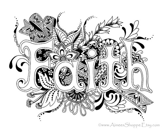 faith coloring pages - items similar to zentangle faith print pen and ink