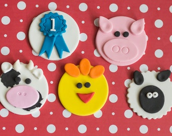 Fondant County Fair Farm Animal Toppers Ribbons, Chickens, Pigs, Cows and Lambs for Cupcakes, Cookies, Brownies or MiniCakes