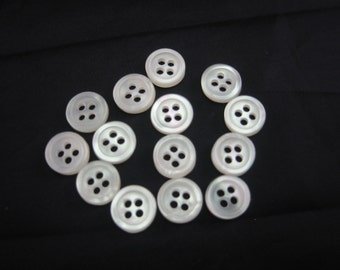 """Extra Small buttons, Small buttons. shirt buttons, 7/16"""" (8.5mm) White Pearl Lot of 6"""