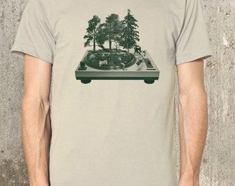 Men's Organic T-Shirt - Vinyl Record Forest - Men's Small Through 2XL Available