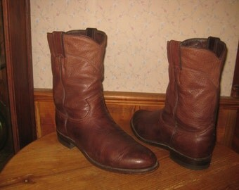 Justin   Made In USA    Soft Deerlite Leather   Roper Style   Cowboy Boots    Mens  8 1/2  Wide