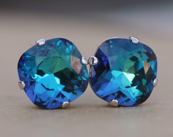 NEW Swarovski Bermuda Blue Cushion Rhinestone Stud,Swarovski Stud Earrings,Blue Green,Rounded Square Post,Silver,Gold,Bridesmaids,Weddings