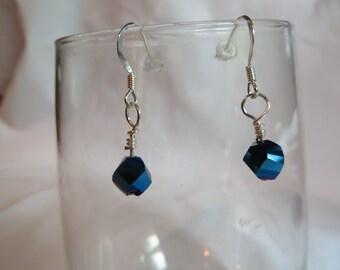 Blue Metallic Earrings, earrings, metallic, blue, dangle