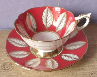 Vintage Gold and white English rose leaves teacup and saucer, pinnate, Royal Stafford Red white tea cup, Bone china tea cup, Antique teacup