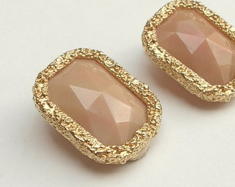 Vintage Les Bernard clip on earrings, Gold enamel earrings, Rectangular earrings, Costume Jewelry, pink earrings, plastic earrings