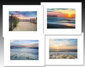 Beach Photography Collection, Set of four matted prints that each fit an 8x10 inch frame, Buy as a set and save, Great Gifts