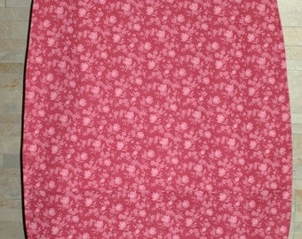 Adult Woman Garment Clothing Protector Bib Cover Up - Dusty Rose Coral Floral with Pockets