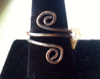 Handmade twisted  knuckle or thumb ring ready to ship