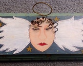 Primitive Angel Art Hand Painted Wood Plaque Sale