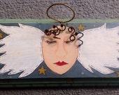 Primitive Angel Art Hand Painted Wood Plaque Sale