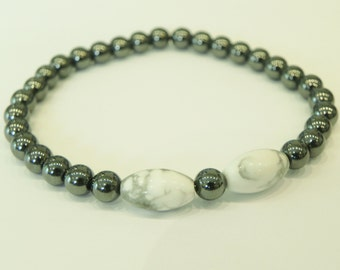 Mens gemstone surfer style bracelet with hematite and magnesite|metallic jewellery|gun metal grey|mens bracelet|grey and white|high shine