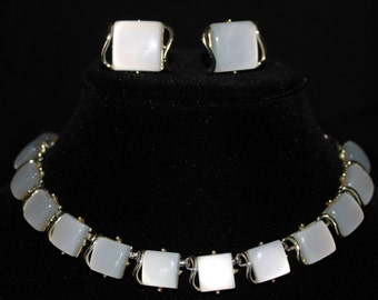 Vintage Coro Pegasus Signed Moonglow Lucite Necklace and Earrings