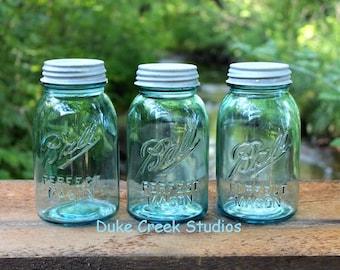 3 Aqua Ball Mason Quart Jars w/Zinc Lids - 1910-1923 - VINTAGE WEDDING JARS - Centerpiece - Vase - Turquoise - Teal - Insurance w/ Shipping