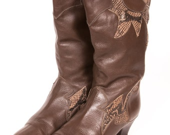 1980's SNAKESKIN Boots Women's Size 8