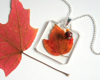 Red Maple Leaf - Real Autumn Leaf Woodland Necklace - Pressed leaf, maple, orange quartzite, fire agate, Autumn, forest, minimal, ooak, gift