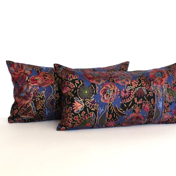 Decorative Black Lumbar Pillow : Lumbar Pillow Cover Black Pink Purple Gold Floral Decorative