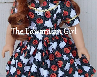Three of a kind 1930s/1940s Hallowe'en ghosts and jack-o-lantern dresses. Fits American Girl, Springfield Our Generation. Made in USA