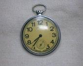 Soviet Russian Pocket Watch, Non-Working, Parts, Molnia, Molniya, Open Face