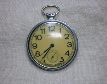 Soviet Pocket Watch, Non-Working, Parts, Molnia, Molniya, Open Face