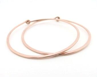 Rose Gold Hoop Earrings 1.5 inches diameter
