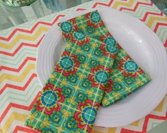 Moroccan Tile Design Cloth Napkins - Set of Four -  Napkins by Pillowscape Designs - Colorful Bright Napkins - Green Napkins - Yellow Napkin
