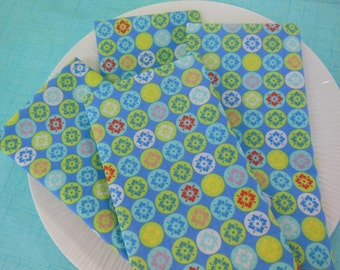 Blue Moroccan Cloth Napkins - Set of Four -  Flower and Circle Napkins by Pillowscape Designs - Blue, Aqua, Lime Green, Yellow, Red, Pink