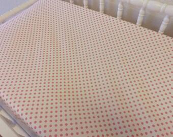 READY TO SHIP -- Pink Polka Dot Changing Pad Cover--