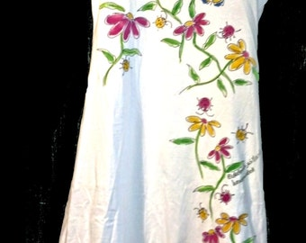 Pink and Yellow Wildflowers Dress Hand Painted for Women and Plus Sizes