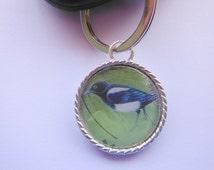 Bird Postage Stamp Keyring