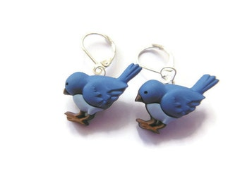 Blue Bird Button Earrings With Sterling Silver Clip Lock Backs