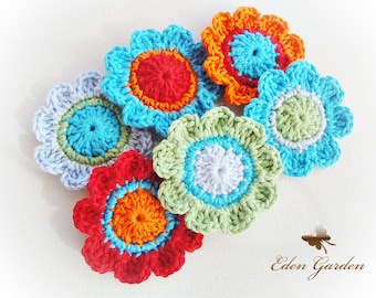 Set of 12 Candy Crochet Flowers (Color Mix Flowers)