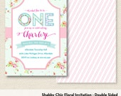 Shabby Chic Floral Invitation, Vintage Rustic Invitation - Double Sided, Printed Set of 10