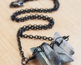 Mystic Quartz Crystal Necklace- Mystic Quartz Crystals and Gunmetal Necklace