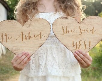 He Asked She Said Yes Heart Signs Rustic Engagement Photo Prop Engraved Rustic Wood Wedding Signs