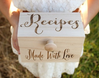 Recipe Box Wood Recipe Box Rustic Recipe Box Mothers Day Gift Bridal Shower Gift Engraved Recipe Box DownInTheBoondocks