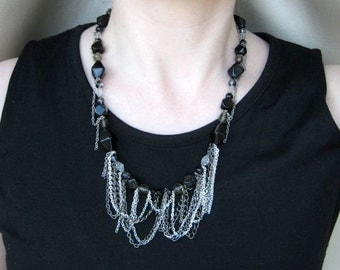 Black, grey and silver tone chain necklace - aged silver, gun metal, statement necklace