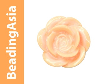 6 pcs Resin Cabochons Flower Rose 20mm Rose Peach (653-021)