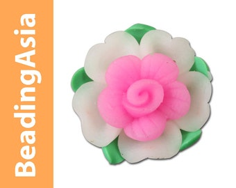 4 pcs Bead Polymer Clay Flower Anemone (Large) 20mm White / Pink Opal (352-423)
