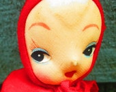 Vintage Little Red Riding Hood Pose Doll with Wicker Basket.  Y-131