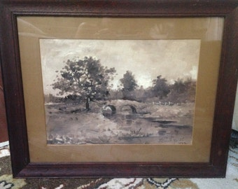 1899 Antique Oil Painting Titled Quaker Bridge Old Landscape Matted and Framed